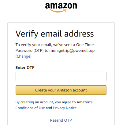 Amazon, however, asked for a one-time password (OTP) that was sent to the fake email address.